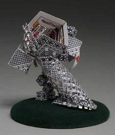 "AP Arts > Studio Art > Young Masters""This work was made from a deck of cards; pieces were assembled to play on the designs found on the cards' backs. Geometric forms were cons..."