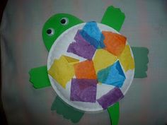 Paper plate turtle craft with tissue paper shell