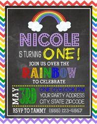 Personalized Children's 1st Birthday Party Invitation - Rainbow Chevron Chalkboard