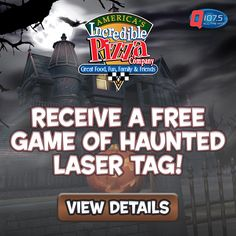 Get a FREE HAUNTED LASER TAG Game at Incredible Pizza!!  Just signup here for your free pass http://goo.gl/zNmjI3