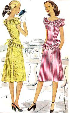 1940s Junior Summer Dress Vintage Sewing by MissBettysAttic, $24.00