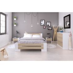 MAO Complete adult bedroom - Contemporary - Matt white and sonoma oak decor - W 140 x L 190 cm Bedroom Colors, Home Decor Bedroom, Master Bedroom, Bedroom Small, Design Bedroom, Bedroom Ideas, Home Interior, Interior Design, Ikea