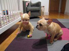 French bulldog + baby dressed as french bulldog? SO CUTE.
