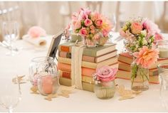 Wedding decor inspiration antique book centerpieces book are you reading more than one book at all times if you answered yes to any of these questions then you may be interested in incorporating your literary junglespirit Choice Image