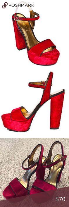 """New $99 Nine West Red Carnation Platform Heels 7M New in box, $99 retail, Nine West """"Carnation"""" red velvet platform sandals. Size 7M. On Ⓜ️also. Bundle & save  Nine West Shoes Platforms"""