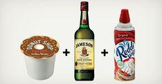 Classic Irish coffee in k-cup form.        Donut Shop K-Cup      Jameson Irish Whiskey      Whipped Cream~ Boom!