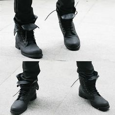 Men Black Leather Lace Up Gothic Punk Military Combat Style Boots SKU-1280050