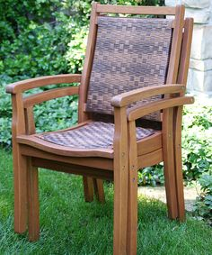 114.99-BY OUTDOOR INTERIORS / EUCALYPTUS / Brown Wicker Stacking Armchair | zulily 20W X 24D X39.5H