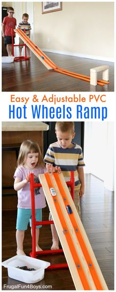 How to Make a PVC Pipe Adjustable Hot Wheels Car Ramp - Fun homemade toy!