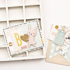 I'm still loving the Little You baby collection from @cratepaper! Isn't this cute bunny sticker just so sweet? I shared this baby card and gift bag #ontheblog this week in case you missed it. #handmade #cratepaper #cards #prettypackaging