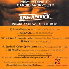Insanity classes in Edinburgh. Come along and test yourself against the toughest workout around.