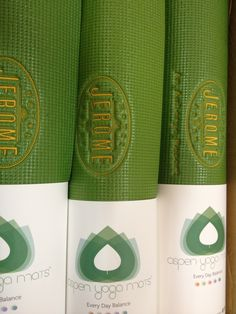 Created for The Hotel Jerome, an Auberge Hotel. Green and gold custom embroidered yoga mats www.aspenyogamats.com