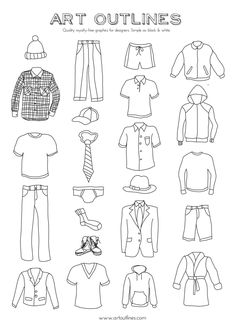 Set of Men's Clothing Illustrations – 23 Original Hand Drawn Vector Graphics – Clothing Trend Adobe Illustrator, Drawing Tips, Drawing Sketches, Dress Sketches, Sketching, Clothing Sketches, Men's Clothing, Round The World Trip, Fashion Design Sketches