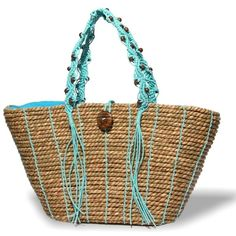 Natural  Raffia Bag with turquoise handles   Beach and Resort tote bag... (87 CAD) ❤ liked on Polyvore featuring bags, handbags, tote bags, tote bag purse, beach handbags, beach purse, handbags totes and beach tote bags