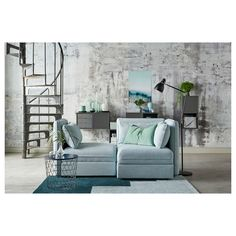 VALLENTUNA Mod sofa, 2 seat w slpr section, and storage/Hillared light blue. One sofa, lots of possibilities. Armchair Bed, Sofa Bed, Light Blue Couches, Ikea Vallentuna, Flexible Furniture, Steel Bed, Bed Slats, Colors