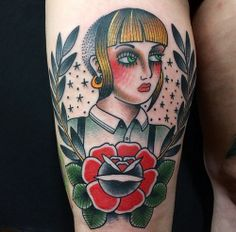 Skinhead Girl Old School Tattoo #skinhead #tattoo
