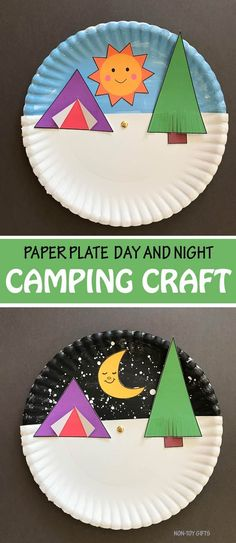 Paper plate day and night summer camping craft for kids. Interactive craft with printable template. Great to get kids excited over outdoor summer fun, smores, campfire and tents. Camping Theme Crafts, Camping Crafts For Kids, Summer Crafts For Kids, Daycare Crafts, Crafts For Kids To Make, Toddler Crafts, Summer Kids, Preschool Crafts, Craft Kids
