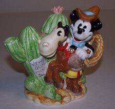 "Disney Mickey Mouse Enesco Pie Eyed Two Gun Mickey 5"" Figurine Teapot 1998"