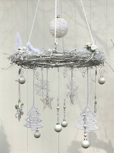 Excited to share the latest addition to my #etsy shop: White Christmas decor - white Holiday wreath - white Christmas decoration - Christmas gift - hanging wreath - shabby chic chandelier wreath