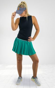 In The Nike Court Slam Sleeveless Top In Black With The Nike Court Victory Skirt In Neptune Green And Matchi Outfit Inspirations Tennis Clothes Shopping Outfit