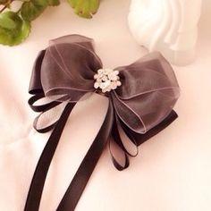 【★新発売★】 大人可愛い♡ビジュー付きブラックオーガンジーのお姫様リボンバレッタ