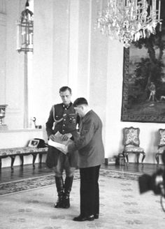 Adolf Hitler with his SS adjutant Otto Günsche,10 April 1943. Günsche was the man who carried Hitler's body to the chancery garden for the cremation.