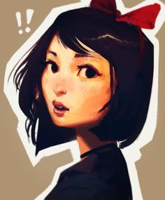 Portrait Illustration Kiki Sketch by Samuel Youn . Amazing Drawings, Amazing Art, Art Drawings, Awesome, Character Drawing, Character Illustration, Illustration Art, Chef D Oeuvre, Wow Art