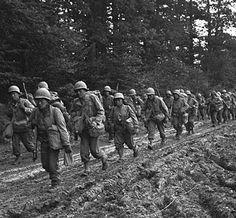 442nd REGIMENTAL COMBAT TEAM marching in France.