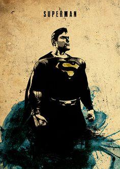 Affiche de film minimaliste de Superman par moonposter sur Etsy