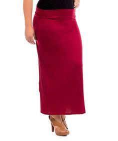 Cut from supple fabric and styled with a wide waistband, this maxi skirt lends comfort to everyday ensembles. 40 And Fabulous, Plus Size Maxi, Strap Heels, Trendy Outfits, High Fashion, Chic, My Style, Classic, Red Maxi