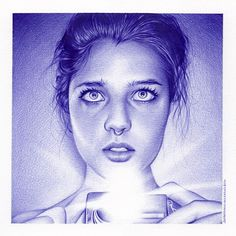 """ Yas/Moscu/Rusia pen art by Juan Francisco Casas, Stylo Art, Selfies, Biro Drawing, Ballpoint Pen Drawing, Spanish Artists, Portraits, Pastel Art, Illustrations, Gravure"