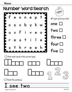 Enjoy these FREE simple word searches! Color and Number words.