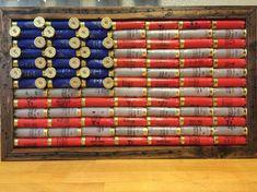 Shot Gun Shell American flag, rustic americana, americana, wall decor, shotgun shell, shotgun hull, red white blue, military, man cave by SawdustandFabric on Etsy