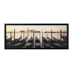 BJÖRKSTA Gerahmtes Bild, venezianische Ansicht, schwarz - 140x56 cm - IKEA