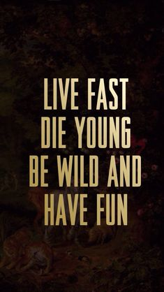 Live Fast Die Young Be Wild Have Fun
