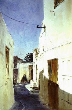"Robert Wade  ""Light in Lindos"" GREECE Painted 1985 19""x14"""