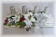 Vánoční (adventní) svícen, 0proutí, bílý, tunel - bílé vánoční květy