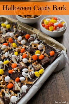 Today is kind of a big day for me. Today, I'm going on a local TV show to do a cooking segment. I'm really excited and a little nervous, but mainly I'm excited! This Halloween Candy Bark is the rec...