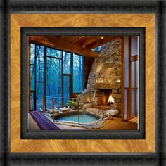 Cozy Fireplace, Money Box, Jacuzzi, Bathtub, Relax, Cabin, Architecture, Stuff To Buy, Hot Tubs