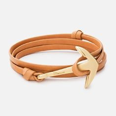 ANCHOR ON LEATHER BRACELET, MATTE GOLD-PLATED