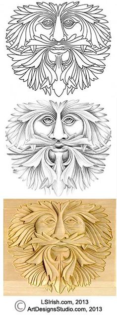 Green Man Relief Carving by Lora Irish