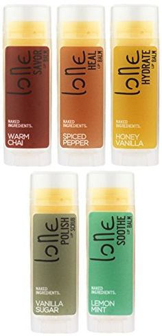 LONE- Lip Balm & Scrub: 5 Pack | All Natural Ingredients | Hydrate, Heal, Soothe, Savor & Polish