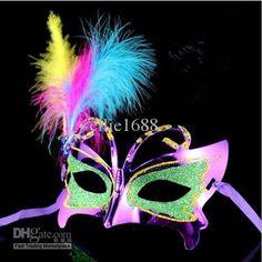 Wholesale Party Masks - Buy 20pcs/lot Plastic Feather Masks Masquerade Masks Carnival Masks Mardi Gras Masks Venetian Masks, $1.3   DHgate