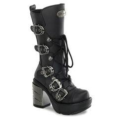 Black Moto Motorcycle Riding Cyber Punk Goth Platform Womans Boots Shoes Demonia
