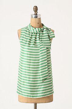 green strip blouse