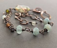 Last one - Artisan linked copper bracelet with citrine, aquamarine and small matte Czech glass beads