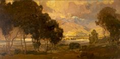 Hanson Puthuff (1875-1972). Trees and Foothills. Oil on canvas, 17.75 x 35.75 in