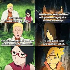 Haha Sasuke and Naruto describing each other, while their kids were listening ❤️❤️❤️