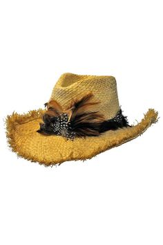 Cowboy Hat With Frayed Edges & Feather Hatband Western Cowboy Hats, Cowgirl Hats, Tan Hat, Feather Hat, Girl With Hat, Summer Wear, Straw Hats, Western Style, Polyvore