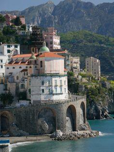 Town View from Coast Road, Amalfi, Campania, Italy